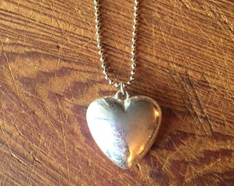 Charms on Chain, Vintage silver toned Puffy heart charm on Base Metal Ball Chain, Upcycled Gifts under 20, Gifts for Her,