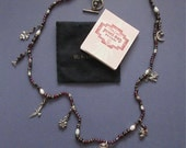 Natural Bead  & Sterling Watch Necklace - Peyote Bird Designs - Charms Pearls Amethyst