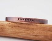 Copper Anniversary Bracelet - Copper Cuff - Forever - Oxidized Copper - 7 Year Anniversary Gift
