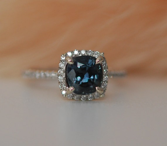 peacock blue sapphire ring white gold engagement by