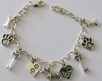 Sterling Silver Key to My Heart PEMBROKE CORGI DOG Charm Bracelet & 9 Charms