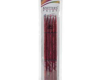 Size 8 Knitters Pride Dreamz Birch Wood Knitting Double Point Needles 8 inch Long Set of 5 needles