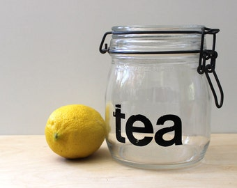 Tea. Vintage mason jar for typography lovers, 1970s.