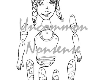 Yoga Girl 6. dance, ballet, fitness jointed articulated paper doll puppet coloring page, download
