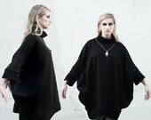 SALE 20% BABOOSHKA Full Moon Oversized Minimal Modern Turtleneck Sweater Dress Tunic  Pullover Sweatshirt - Black Charcoal Gray ( xs s m l x