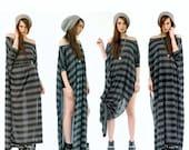 SALE 20% Babooshka Monochrome Black & Charcoal Stripe Vent Tee Maxi Dress Oversized Tunic Print Minimal Tunic Top Gothic Witchy Urban Mod St