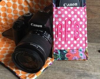 SALE Custom Patchwork Camera Strap Cover with Monogram