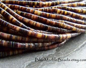 Black Lip Shell, Heishi Bead, Boho Beads, Tiny Beads, Small Beads, Natural Beads, Brown Beads, Shell Beads, 2mm, 24 Inch Strand, Full Strand