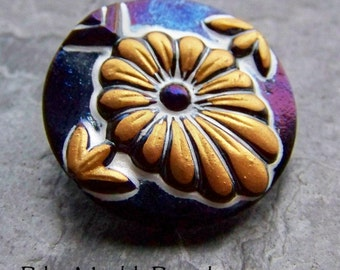 Vintage Czech Rare Hand Painted 3 Dimensional Flower Glass Button-1 Button