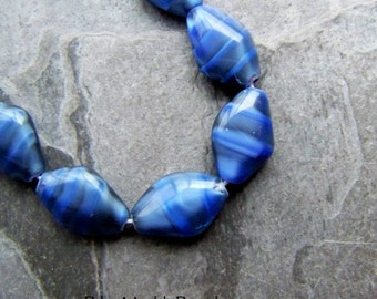 Glass Beads, Diamond Beads, Blue Beads, Blue Marble Beads, Striped Beads, Czech Glass Beads, Kite Beads, 15 x 10, Full Strand, 25 Beads
