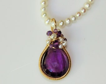 Amethyst Pearl Victorian Necklace Amethyst pendant Pearl Necklace