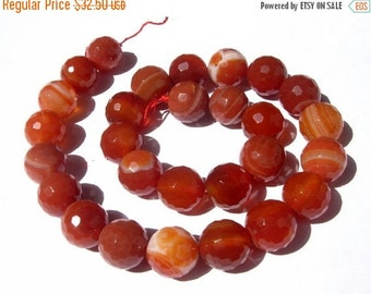 55% Sale 14 Inches - Finest Quality Natural Red Agate Faceted Round Beads, Size 14x14mm approx