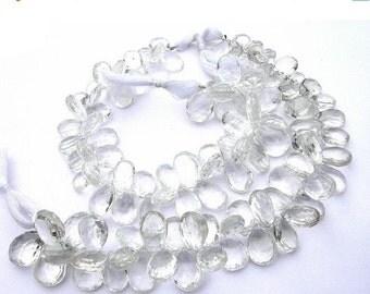 55% OFF SALE Set of 16 Pcs - Finest quality Rock Crystal Quartz Faceted Pear Briolettes Size 10x7 - 12x8mm approx
