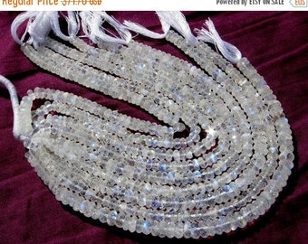 55% OFF SALE 9 Inches - Finest Quality Genuine Rainbow Moonstone Micro Faceted Rondelles Size 6 - 7mm Approx