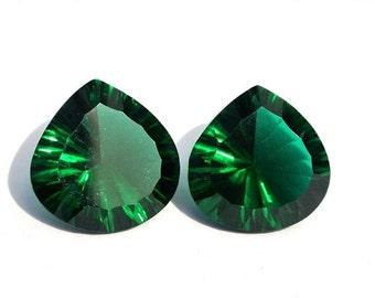 55% OFF SALE 2Pcs 1 Match Pair AAA Chrome Green Quartz Concave Cut Heart Briolettes Size 15x15mm Concave Cut Gems (Choose The Drill Hole)