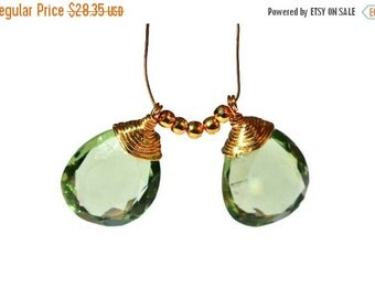 55% OFF SALE 2 Pcs 22kt Gold Vermeil AAA Green Amethyst Quartz Mirror Cut Wire Wrapped Pear Briolettes, Wire Wrapped Dangles, Charm, Pendant
