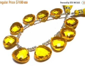 50% Off Valentine day 8 Inches  -  15x15mm AAA Yellow Quartz Faceted Checker Cut Heart Briolettes 10 Pcs 5 Matched Pairs