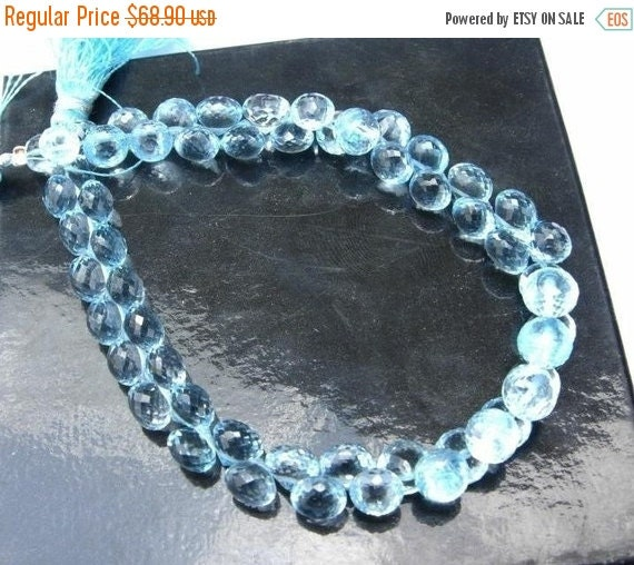 55% OFF SALE 7 matched pair 14 pcs Flawless Sky Blue Topaz micro faceted onion briolettes in size of 6-7mm