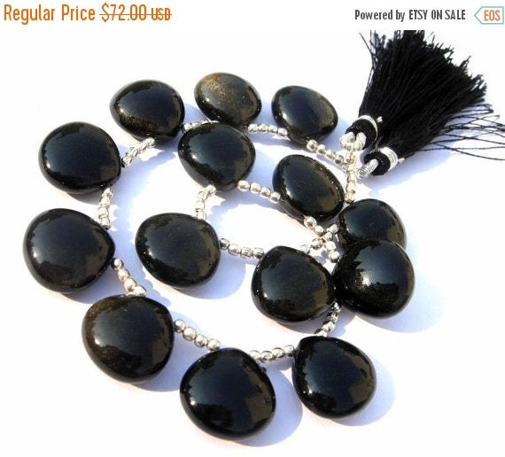 55% OFF SALE 8 Inches 14 Pcs High Grade Natural AAA Gold Sheen Obsidian Smooth Heart Briolettes Size 15x15mm Get 25 Percent Discount