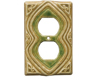 Moroccan Duplex Outlet Cover in Tan Emerald Glaze