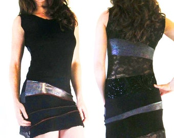 Striped Delight Goddess Dress - Diva Dress, Black and Silver, Patchwork, Eco Upcycled