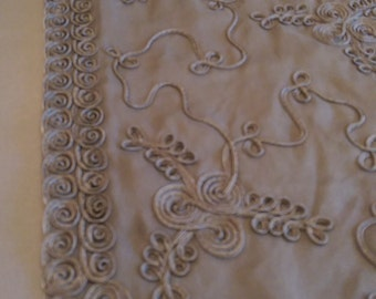 Black Embroidered Chiffon by the Half Yard,  Black Fabric with allover Embroidery, Sheer Fabric with Embroidered Soutache Trim, Scallop Edge
