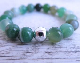 Green Agate Bracelet Gemstone Silver Bead 10mm Bead Gemstone Stretch Bracelet Green Gemstone