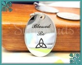 1 Stainless Steel Engraved Blessed Be Pendant with Celtic Symbol 23mm