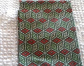 Vintage Cotton Quilt Fabric Block Pattern in Shades of Green & Red
