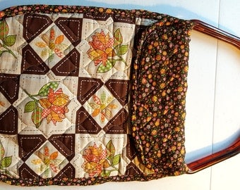 Vintage Patchwork Place mat Project Tote for Knitting, Crochet, Needlework and Such