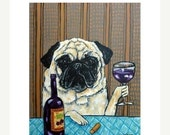 ON SALE pug at the wine bar dog art signe art print 11x14