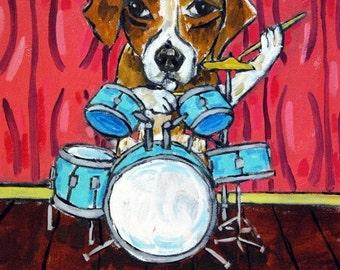 ON SALE Beagle , beagle art, gift for drummer, drums, beagle PRINT, 11x14 print, modern folk art, dog art, dog print