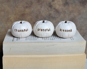 Thanksgiving decor pumpkins... thankful grateful blessed ...nice present....cute handmade clay hostess fall holiday gift