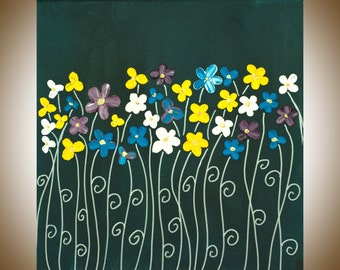 """Oil painting Original flower painting blue yellow white flower canvas art contemporary wall art gift for her"""" Hapy Face"""" by QiQiGallery"""