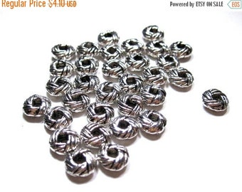 50% Off 11 pcs of  Antique Silver large hole Rope design spacer beads 2.5x6mm MB 077