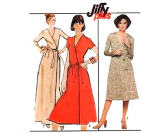Vintage Sewing Pattern 70s Wrap Dress Belt Flare Skirt A line Knee Length size 12 Bust 34 Small Uncut Long or Short Sleeve Simplicity 8235