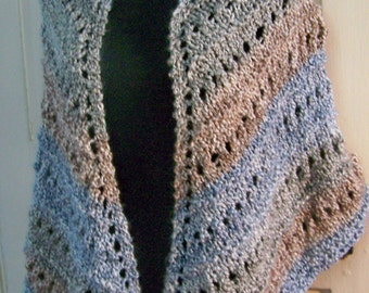 HANDKNIT SHAWL Lacy Triangular  in Soft Blue, Brown and Grey Colored Stripes