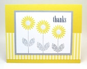 daisy thank you card - yellow and gray thank you card - thanks card