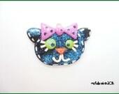 SALE Polymer Clay Glittery Black Cat Charm Pendant