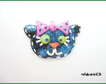 SALE Polymer Clay Glittery Black Cat Charm Pendant