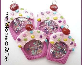 New Polymer Clay Cupcake Shaker Charm Pendant