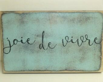 JOIE DE VIVRE sign / Paris sign / hand painted sign / Paris Apartment decor / Paris wall sign / Wood Paris sign / Paris wall decor / joy