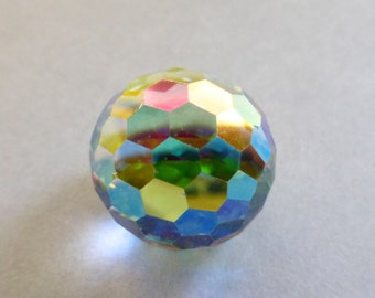 Vintage Swarovski Crystal AB Fireball 18mm Faceted Round Glass Stones (1)