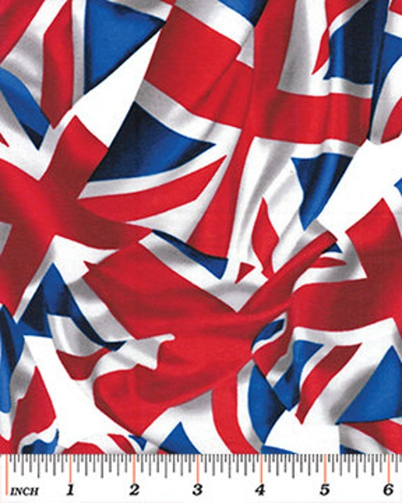 Sale BRITISH FLAG Red White Blue Cotton Quilt Fabric - by ...