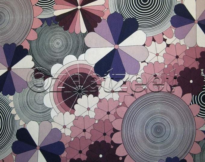 SUPRA PURPLE Lilac Magenta 70s Floral Geometric Retro Alexander Henry 100% Cotton Quilt Fabric by the Yard, Half Yard, or Fat Quarter Fq