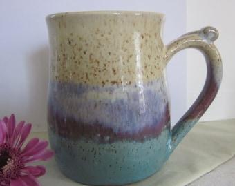 Plum Stripe Mug with Thumb Rest Wheel Thrown Stoneware Pottery