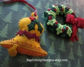 INSTANT DOWNLOAD  -- 2 Felt Ornament Sewing Patterns-- Joyous Holiday Wreath and Bell (102115)