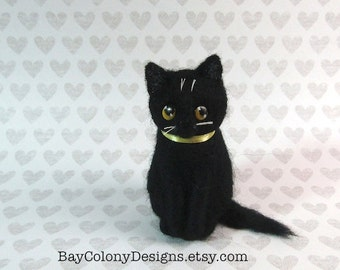 Needle-Felted Wool Cat Black Halloween Domestic Soft Kitten Sculpture  - READY TO SHIP (61516)