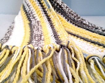 Stripes of Yellow Gray and Blue Hand Crocheted Orphan Scarf