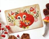 Fox Mom and Pup Postcard, Limited Edition Postcard Postcrossing, Whimsical Animals, Mother's Day Postcard